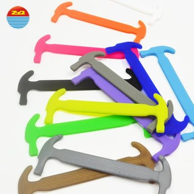 China Hammer Shape Silicone No Tie Shoelaces , Unisex Tieless Shoe Strings factory