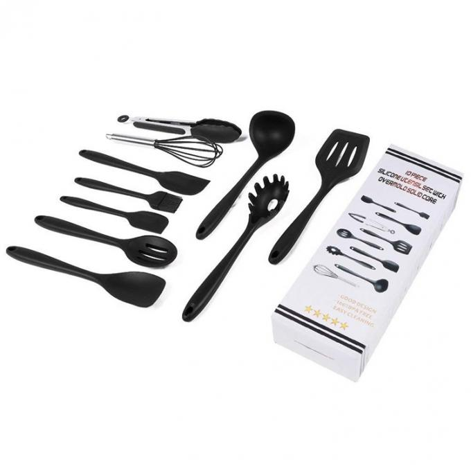Rotating Stand Silicone Kitchen Utensils Set Durable Black Kitchen Gadgets