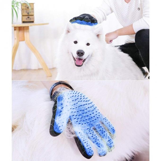 Gentle Silicone Dog Grooming Glove , Hair Remover Pet Deshedding Glove